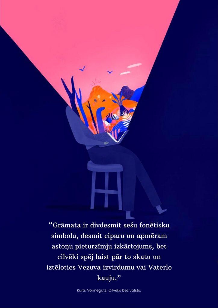 Grāmata ir divdesmit sešu fonētisko simbolu, desmit ciparu un apmēram astoņu pieturzīmju izkārtojums, bet cilvēki spēj laist pār to skatu un iztēloties Vezuva izvirdumu vai Vaterlo kauju. Kurts Vonnegūts. Cilvēks bez valsts.